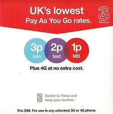 3G network sim card  With £10 TopUp  1