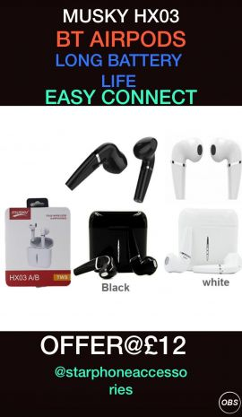 Musky HX03 BT Airpods Long Battery Life For Sale in UK