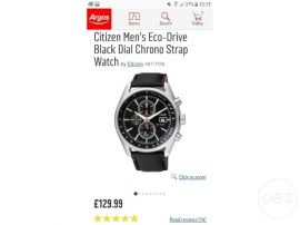 Citizen EcoDrive Chronograph Watch RRP for Sale in the UK