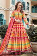 Multicolured Chevron Print Silk Anarkali Dress