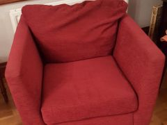 3 and 2 Seat Cream Leather Sofas Plus Red Fabric Chair Available at UK Free Classified Ads