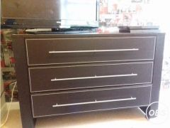 Brown leather drawsside unitmirror for Sale in the UK