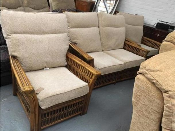 Cheap sofa 3 piece cane suite for sale in the uk for Furniture 3 piece suites