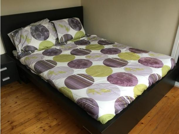 Malm ikea black queen sized platform bed for sale in the uk furniture scotland glasgow gla - Ikea black platform bed ...