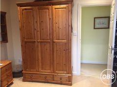 Pine Wardrobe 3 door solid wood for Sale in the UK