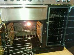 Rangemaster Toledo 90cm electric double fan oven splashback and hood