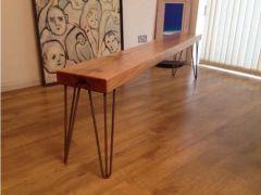 Reclaimed oak bench industrial steel legs for Sale in the UK