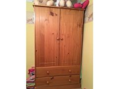 Set of pine drawers wardrobe and bed for Sale in the UK