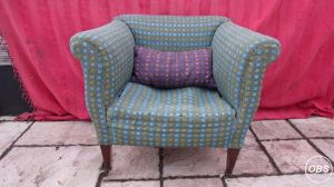 Vintage Fabric Armchair Hand Upholstered with Contrasting Matching Cushion at UK Free Ads