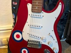 Stratocaster THE WHO Custom Electric Guitar Cherry Apple Red with Stand and Case at UK Free Ads