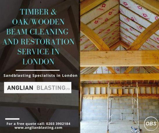 Oak  wooden beam cleaning  Restoration in London